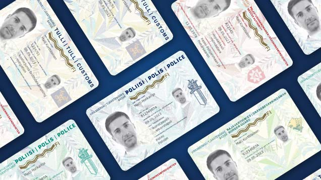 Badges and identity cards used by the security authorities.